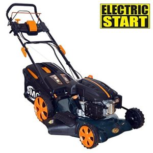 """18"""" BMC Lawn Racer Self Propelled Electric Push Button Start Lithium Ion Battery 4.5HP 4 Stroke Rotary Petrol Lawn Mower with 60L Grass Collection Bag, All Steel Deck, 4 in 1 Function Cut, Cut & Collect, Mulch, Side Discharge"""